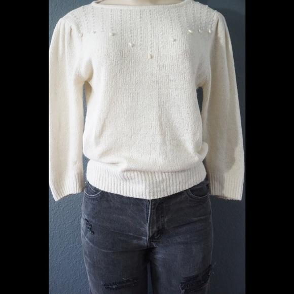 Vintage pearl crop knit sweater r